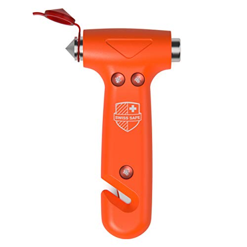 Swiss Safe 5-in-1 Car Safety Hammer: Emergency Escape Tool with Car Window Breaker and Seatbelt Cutter for First Responders and Roadside Safety Kits