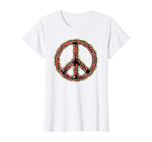 Womens Flower Power Peace Sign Groovy Hippy Vintage