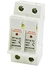 X-DREE RT18-32 AC 380V 32A 2-Pole 2P 10x38mm Cylindrical Fuse Holder Base(RT18-32 AC 380-V 32A 2-Pole 2P 10x38mm Base portafusibile cilindrica