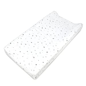 TL Care Printed 100% Natural Cotton Jersey Knit Fitted Contoured Changing Table Pad Cover, Grey Stars and Moon, Soft Breathable, for Boys and Girls