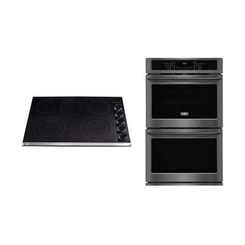 Frigidaire 2-Piece Kitchen Package With FGET3065PD 30″ Electric Cooktop and FGET3065PD 30″ Electric Double Wall Oven in Black