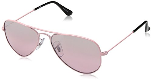 Ray-Ban Junior RJ9506S Aviator Kids Sunglasses, Pink/Pink Mirror Silver Gradient, 52 mm (Pink Ray Ban Aviators)