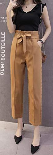 [グリーンティー] パンツ ハイウエスト リボン付き ライン ゆったり キレイめ ボトムス オフィス 秋 冬 レディース