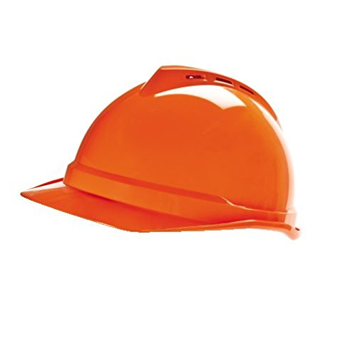 MSA 10034035 V-Gard 500 Cap, Vented, 6-Point Fas-Trac III, Standard, Hi-Viz Orange