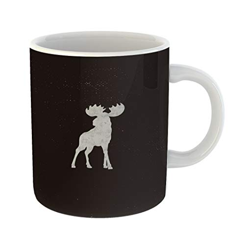 Pictogram Tee - Emvency Coffee Tea Mug Gift 11 Ounces Funny Ceramic Moose Letterpress Effect Retro Pictogram Infographics Tee Badge Gifts For Family Friends Coworkers Boss Mug