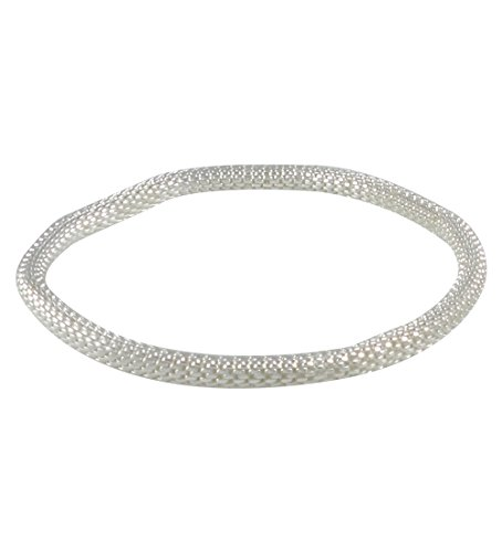 Dragonfly Silver Plated (925 Sterling Silver Plated Mesh Chain Stretch Multilayer Bangle for Women Girls Men (Silver 4mm Smooth))