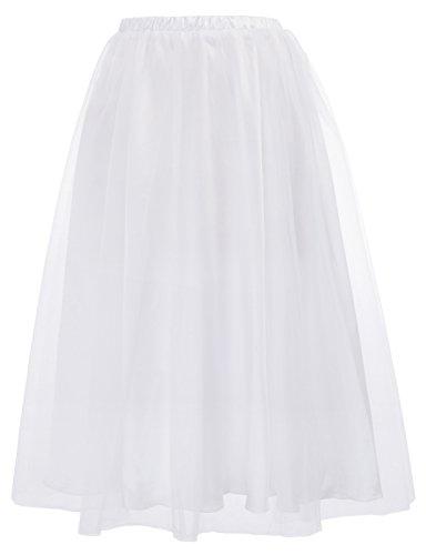 Belle Poque Women's Gothic Tulle Tutu Skirts Elastic Waist Princess Mesh Tulle Skirt BP620-2 S White