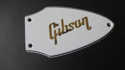 Flying V truss rod cover white with gold logo + screws fits Gibson