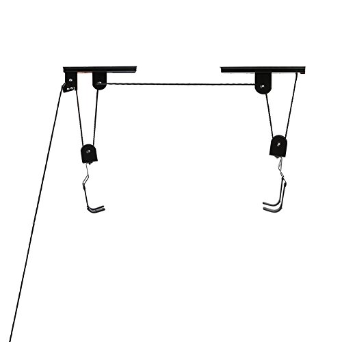Pellor Anti-fall Bicycle Top Suspending Pulley Parking Stand Bike Rack Lift Up And Away Hoist System Display Shelf 40KG Heavy Duty Hanger (Bike System Hoist Pulley)