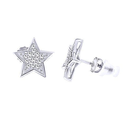 (Round Cut White Natural Diamond Star Stud Earrings in 14k White Gold Over Sterling Silver (0.11 Cttw))