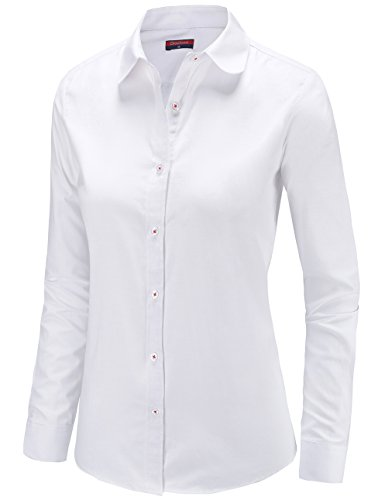 Dioufond Womens Oxford Long Sleeve Button Down Shirts Casual Office Work Wear