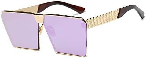 JOJO'S SECRET Oversized Square Sunglasses Metal Frame Flat Top Sunglasses JS009