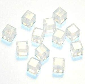 Steven_store SCC195 White Opal 4mm Faceted Square Cube Swarovski Crystal Beads 12pc Making Beading Beaded Necklaces Yoga