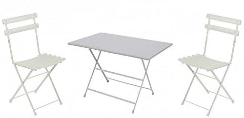 Balkonmöbel Set 3-Teilig, EMU, Rechteckig, Weiss, Groß
