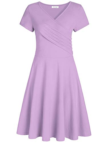 Pintage Women's Surplice V Neck Knee Length Wrap Dress 2XL Lavender ()