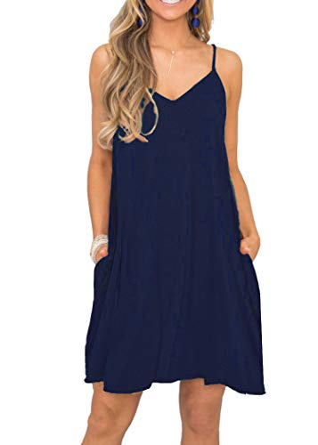 MISFAY Women's Summer Casual Loose T Shirt Dresses Beach Cover up Plain Tank Dress with Pockets (2XL, Navy Blue) (Navy Blue Strap)