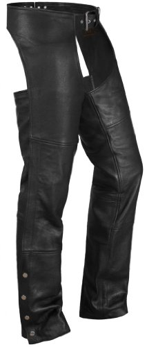 True Element Unisex Basic Leather Chaps with Coin Pocket (Black, 5XL)