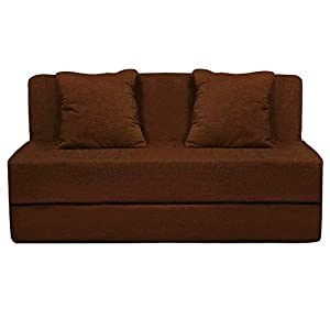 Urban Decor Sofa Cums Bed Furniture Two Seater 4×6 Feet with Two Cushion Brown Color