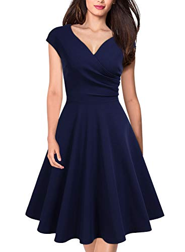 MISSMAY Women's Retro Deep V Neck Cap Sleeve Cocktail Party Fit and Flare Dress XX-Large Navy Blue