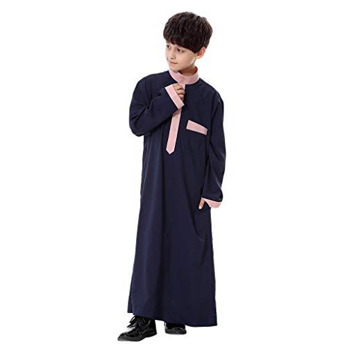 Mens Boys Long Sleeve Saudi Arab Islamic Muslim Dubai Robe (Navy, XXL)