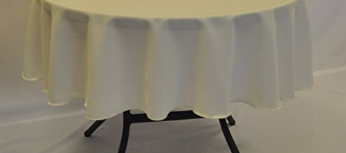 Ivory Patio Tablecloth 58 Diameter Round Polyester Fabric...