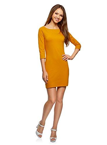 oodji Ultra Femme Robe Basique en Maille Orange (5200n)