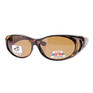 Polarized Fit Over Sunglasses Wear Over Cover Over Prescription Glasses, Size Small, Tortoise (Carrying Case Included)