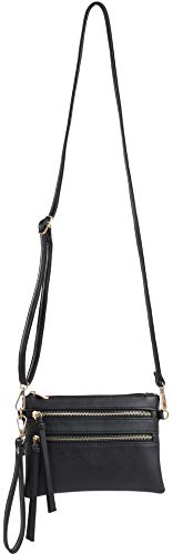 with Everyday Crossbody Pocket Strap and Removable Wristlet Bag Multi Black DELUXITY RdXxFqpUwU