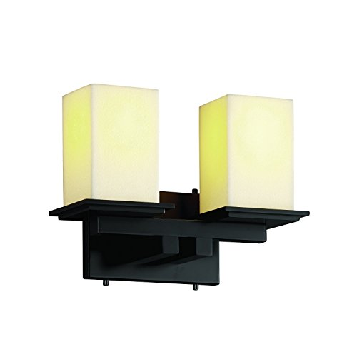 Justice Design Group CandleAria 2-Light Bath Bar - Matte Black Finish with Cream Faux Candle Resin (Justice Design Cream Matte Bars)