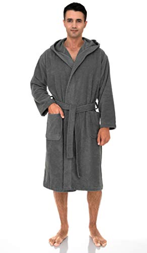 TowelSelections Men's Hooded Robe, Cotton Terry Cloth Bathrobe Large Frost Gray (Pure Cotton Terry Bathrobe)