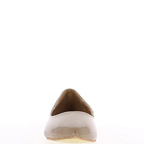Flats lackiert ChaussMoi Ballerina Besatz mit Knoten und schwarz runde Enden qggt5r