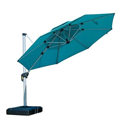 PURPLE LEAF 11 Feet Double Top Round Deluxe Patio Umbrella Offset Hanging Umbrella Outdoor Market Umbrella Garden Umbrella, Turquoise Blue Deluxe Double Swing Set