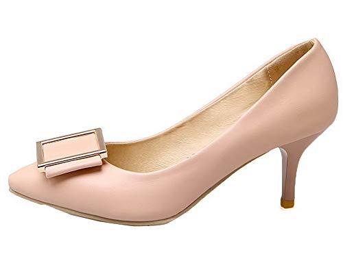 Medio Rosa FBUIDD007043 Tacco Ballet Puro Tirare Luccichio Flats Donna AllhqFashion PzxAq4Xz