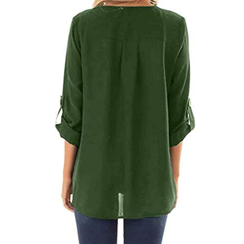donna lunghe Elegante Plus Angelof Bottoni maniche Ragazza Slim Size a Camicetta Tee Fit Camicetta Casual Green V con scollo xqgwISw