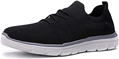 Kuzima Men's Light Air-Permeable Mesh Flying Weaving Sports Shoes Black Size: 7