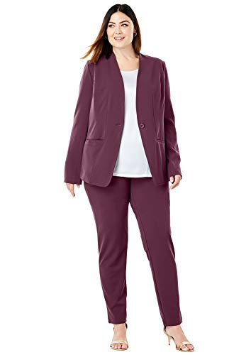 (Jessica London Women's Plus Size Knit Crepe Pantsuit - Deep Merlot, 24)