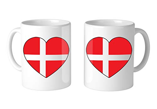 Amdesco Denmark Heart Flag 11 Oz White Coffee Mug (2 Mugs)