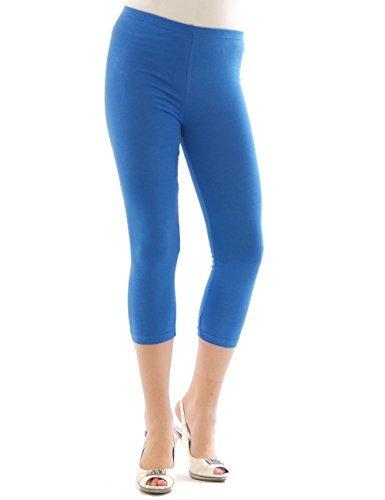 Yeset Femme Legging longueur 3/4 Capri court Leggings cotton BLEU L
