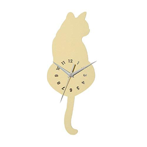 Metal Clock Wall Cat (3D Cat Clock Appearance Wall Sticker DIY Eco-Friendly Fashionable Wall Decals Bedroom Living Room Wall Decoration Gold)