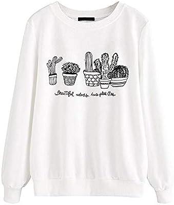 SWEAAY Cactus Impresa Mujer Streetwear Sudaderas con Capucha Hipstersweatshirts Chándales, Blanco, XXL