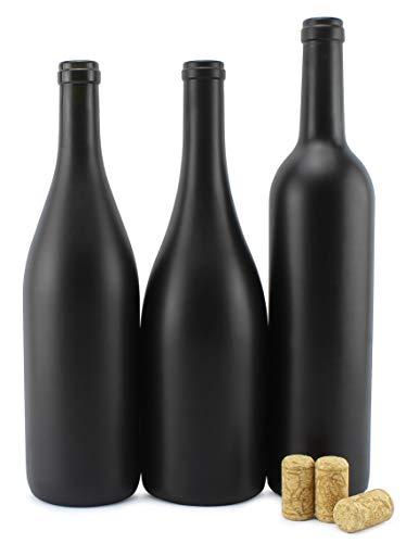Cornucopia Black Wine Bottles w/Corks (Set of 3); Black Matte Coated Glass Wine Bottles Various Sizes for Decor and…