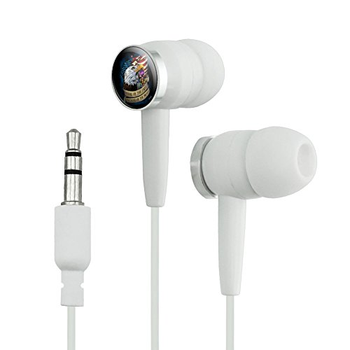 Graphics and More Home of the Free Because of the Brave Purple Heart Eagle American Flag Novelty In-Ear Earbud Headphones - White (Earphones Headphones Bravo)