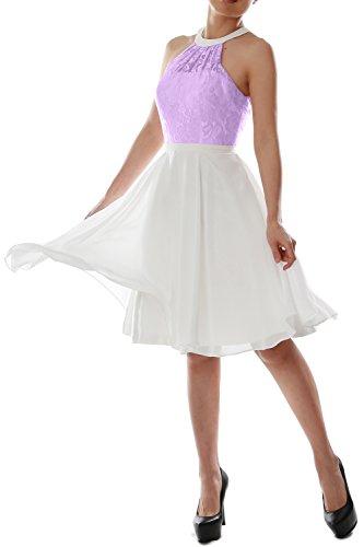 MACloth Women Halter Lace Short Wedding Party Bridesmaid Dress Homecoming Gown Lavanda