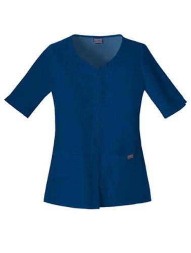 Cherokee Women's Workwear Scrubs Button Front Top, Navy, 4X-Large