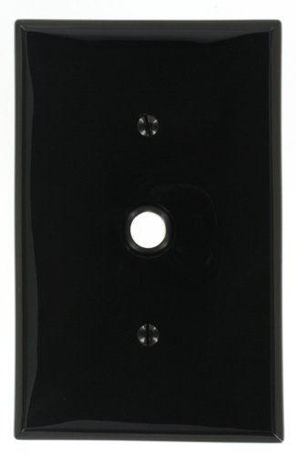 Leviton PJ11-E 1-Gang .406-Inch Hole Telephone/Cable Wallplate, Midway size, Ebony
