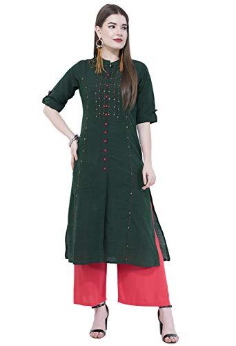 Lagi Women Designer Straight A-Line Kurta Kurtis top Tunic Dresses Polly Silk Rayon Cotton Kurtis Kurta (2XL, Green (RK2138C))