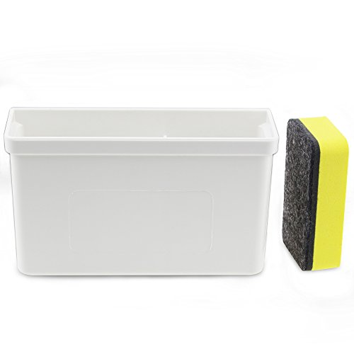 Marker Holder (Magnetic Dry Erase Marker Holder,White Magnetic Dry Eraser Organizer Mount Tray Rack for Whiteboard,Bonus 1 pcs Magnetic Whiteboard Erasers)