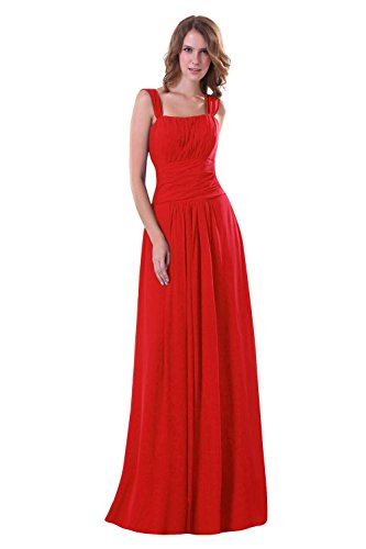 Party Bridal Dora Bridesmaid Dresses Straps Women Chiffon Prom amp;Acute;s Maxi Red Ydq6d