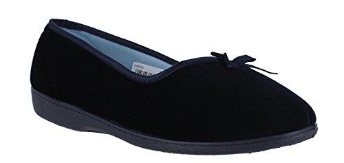 Freestep Cherie Womens Slip On Dual-Fit E/EEE Wide Velour Slippers Navy Kl1qFu8DG