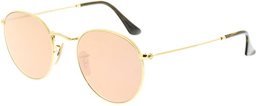 Ray-Ban RB3447N 001/Z2 Non polarized Round Sunglasses, Gold/Copper Flash, 50mm by Ray-Ban